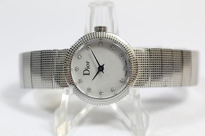 Ladies La Baby D De Dior Diamond Dial Stainless Steel Wrist Watch