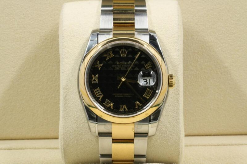 Never Worn Rolex Datejust Model 116203 Black Pyramid Roman Dial Box And Papers