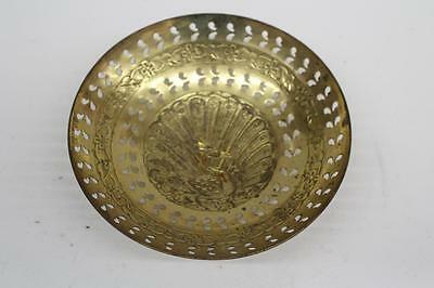 """7"""" Brass Peacock Catch-All Dish"""