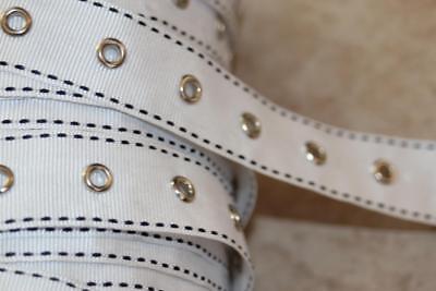1 yard White Black Side Stitched GROSGRAIN ribbon silver GROMMET corset 1