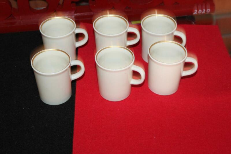 National Airlines Memorabilia Set(6) Espresso Coffee Mugs Cups Ivory Gold NEW