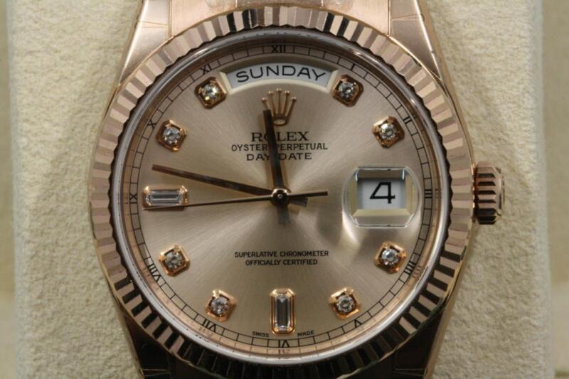 Rolex Day-date 118235 Rose Diamond Dial 2018 Model Unworn