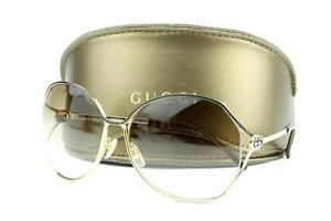 New Gucci GG 2846 N S GG2846/N/S Sunglasses Frames Gold Brown YD3DL Authentic