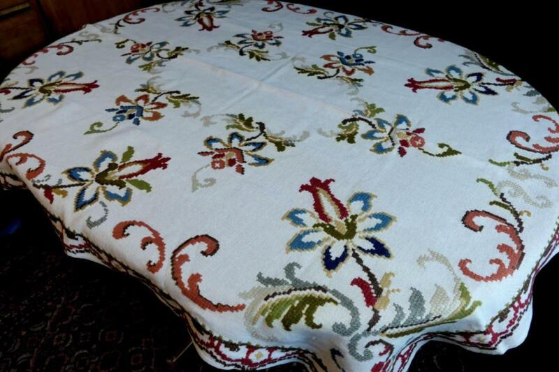 COLLECTORS ANTIQUE  LINEN TABLECLOTH COLORED WOOL CROSSSTITCH