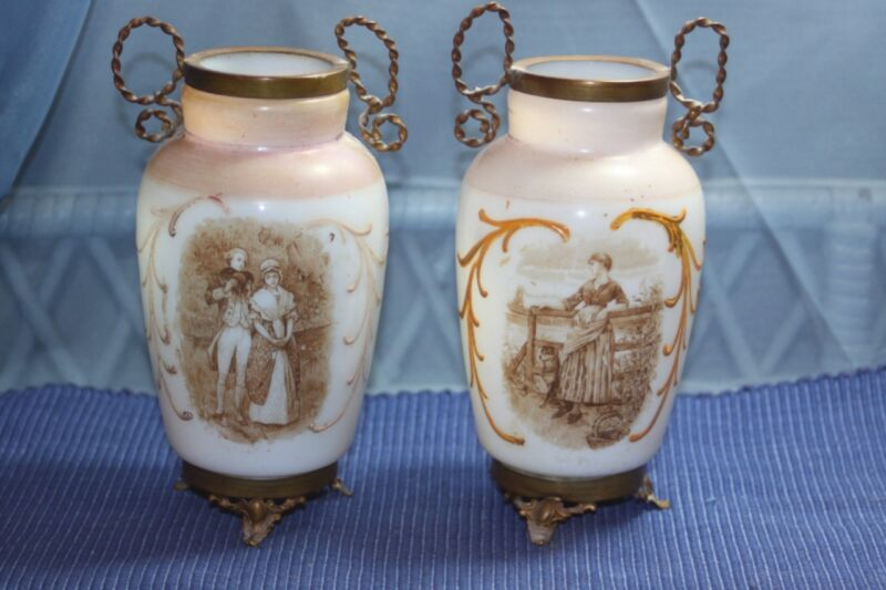 Antique Pair 2 Bristol Glass Vases Metal Accent Moriage Hand Painted Victorian
