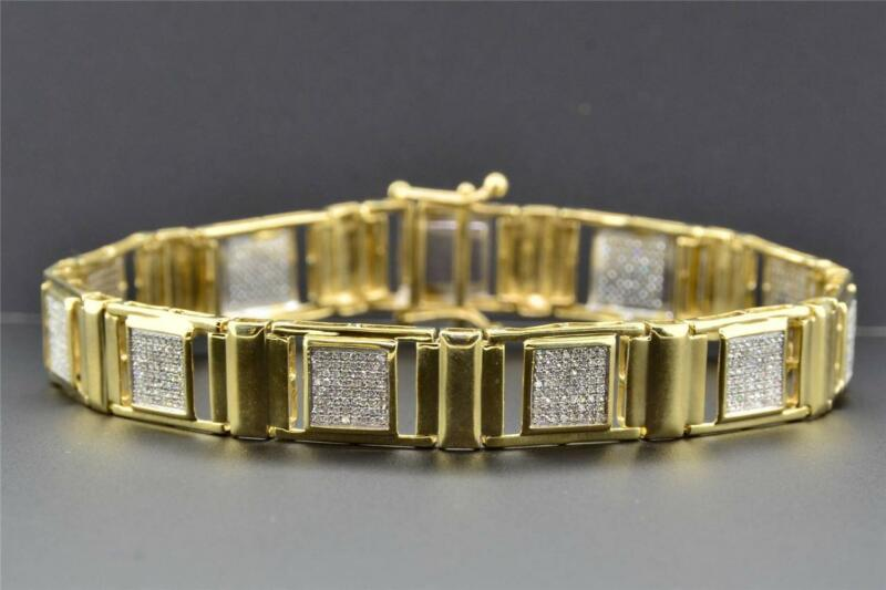 Diamond Link Bracelet Round Cut Pave Design 10k Yellow Gold 1.22 Ct / 8.5 Inch