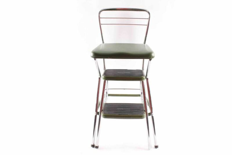 Vintage Cosco Green Chrome Kitchen Stool With Fold Out Steps