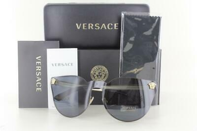 NEW Versace Sunglasses Medusa VE2120 100287 43 Black / Gold Grey 2120 (Black Gold Versace Sunglasses)