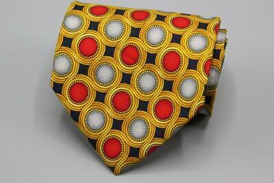GIANNI VERSACE Silk Tie. Yellow w Red Gray & Blue Geometric.