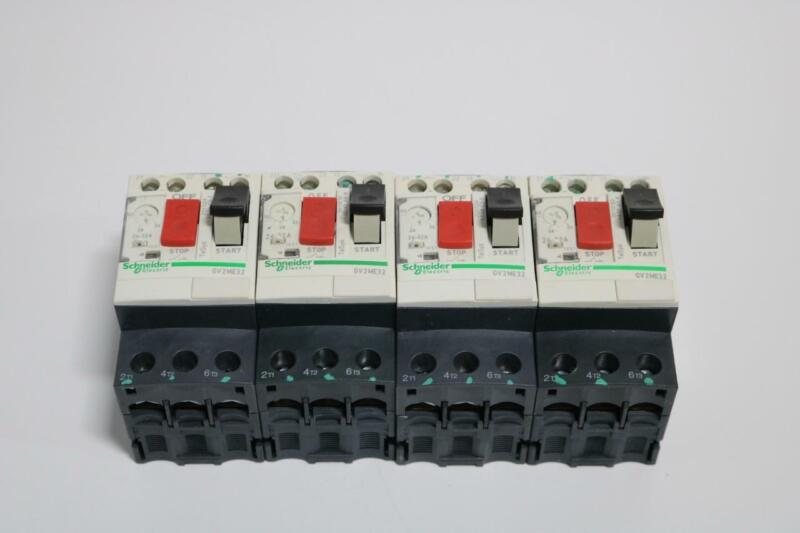 Lot of 4 Schneider Electric GV2ME32 ,24-32A, 220-440 Vac, Motor Circuit Breakers