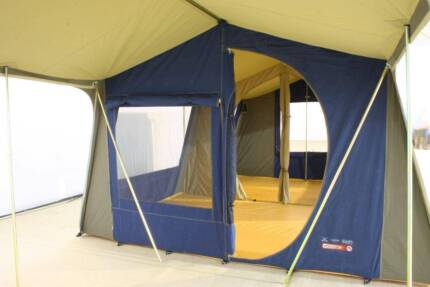FAMILY TENT - CANVAS 2 ROOM TENT - GREAT OUTDOORS HACIENDA & Diamantina Hacienda 2 room canvas tent | Camping u0026 Hiking ...