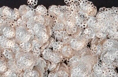 9mm 1000 Rounds (1000 Silver plated metal 9mm filigree bead caps Victorian design caps)