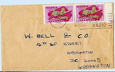 Nigeria 1968 Commercial Cover to USA Radio Slogan Postmark Leopard 189 x2 Scarce