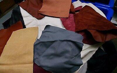 1 lb Bulk Scrap Leather Trimmings 1 to 4 oz Cowhide Remnants Color Craft Pieces