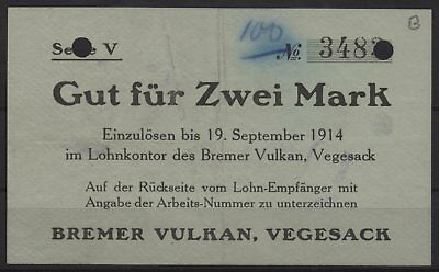 [18772] - NOTGELD VEGESACK, Bremer Vulkan, 2 Mark, -19.09.1914, Dießner 412.10E
