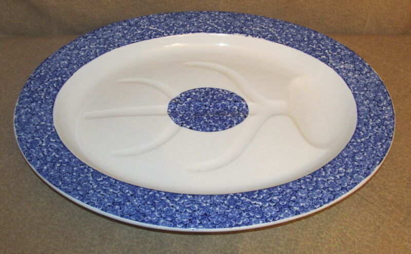 Large Antique English Porcelain Well and Tree Platter Aesthetic