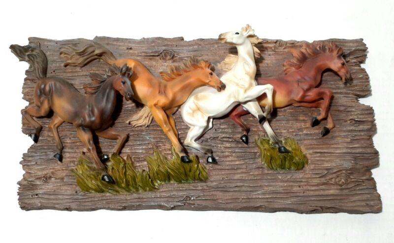 Vintage Horse Wall Art Plaque 4 Running Horses Western Decor  Resin