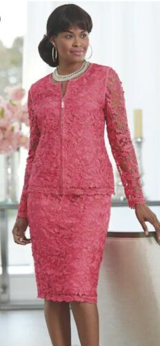 Size 22W 2X PLUS Ashro Magenta Formal Church Party Dress Zilla Lace Skirt Suit
