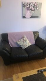Brown leather 3,2,1 and pouffe suite