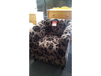Ex-display fabric floral pattern tub chair