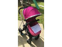 Icandy Peach 3 Fuchsia Pink with carrycot & extras