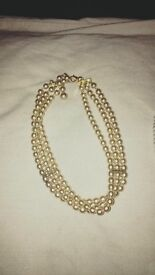 2 Beaded Pearl Style Choker Necklaces