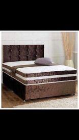 Crushed velvet double divan bed