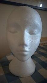 White Female Polystyrene Head Hat/Wig Stand idea shop,craft fair display