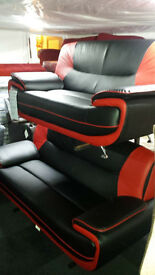 BRAND NEW CLEARANCE leather black & red 3+2 seater