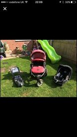 Pushchair with car seat and and iso fix base
