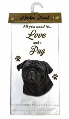 PUG BLACK DOG COTTON KITCHEN DISH TOWEL