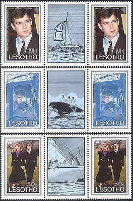 Lesotho 1986 Prince Andrew/Royal Wedding/Royalty/Helicopter 3v gutter pr n17082c