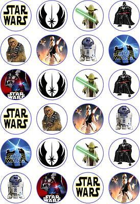 24 Star Wars Cupcake Fairy Cake Toppers Edible Rice Wafer Paper Decorations