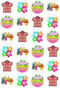 24 Hawaii Hawaiian Aloha Luau Party Cupcake Cake Toppers Edible Rice Wafer Paper