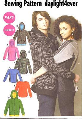 Women Men Top Jacket Zipper Hoodie Sweatshirt Sewing Pattern 6614 New S-M-L #u