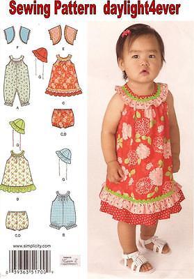 Baby Girl Dress Romper Panties Jacket Hat Size 0-24 lbs Sewing Pattern 1700 #r