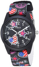 Timex Kids' Analog Quartz Stars and Flag Black Nylon Watch TW7C23700
