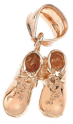 Solid Rose Gold Baby Boy Shoes Charm Pendant