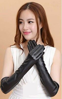 Women's Faux Leather Winter Warm Elbow Evening Party Full Finger Long Gloves