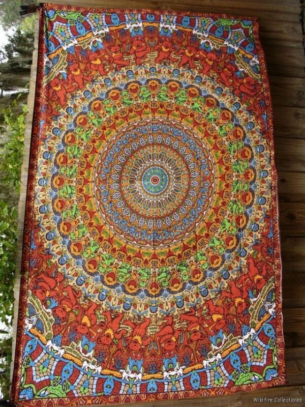 GRATEFUL DEAD DANCING BEAR MOSAIC WALL TAPESTRY jerry garcia art bed blanket new