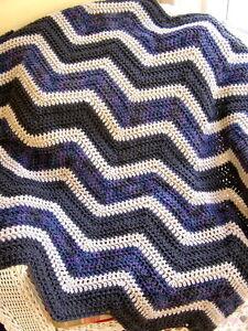 CHEVRON-crochet-handmade-baby-blanket-afghan-wrap-shawl-laprobe-purple-grey