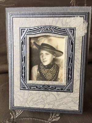 Nice Antique Vintage Photobooth Arcade Photo ~ Boy Cowboy Hat Bandana Frame