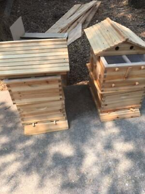 Wooden Beekeeping Beehive House 7pcs Upgraded Auto Flow Bee Comb Hive Frames Set