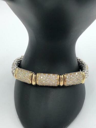 Lagos Caviar 2.16 ct DIAMOND Triple Station 18K Gold Sterling Silver Bracelet