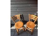 Vintage Pair Of Oak Dining Chairs