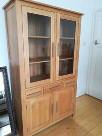 Solid Oak Display Cabinet / Dresser
