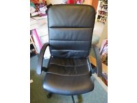 Black Swivel Desk Office Chair and Desk with pink legs