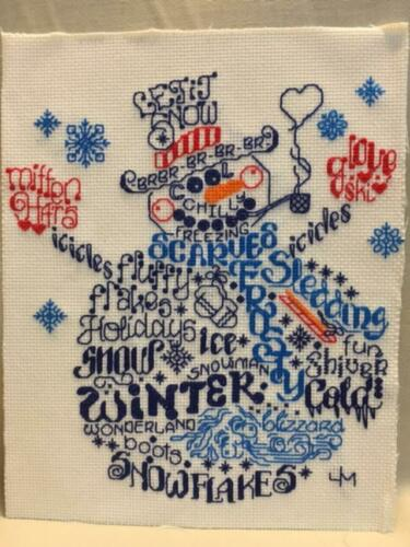 """Christmas Holiday Winter Snowman Finished Cross Stitch 8""""X10"""" Ready to Frame"""