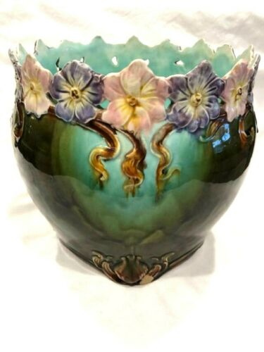 MAJOLICA ANTIQUE JARDINIERE W/ PANSIES FLOWERS