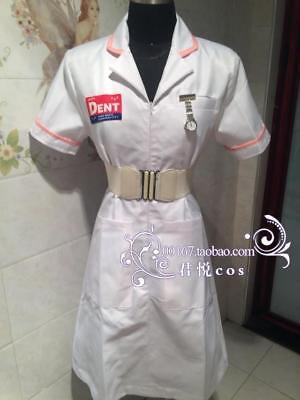 Batman Joker White Nurse Uniform Cosplay Costume Coat V2 Dress Party Halloween  - Joker Nurse Costume Halloween